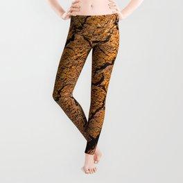 Orange tree bark with rustic wrinkles Leggings