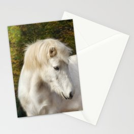 White horse in the autumn forest Stationery Cards