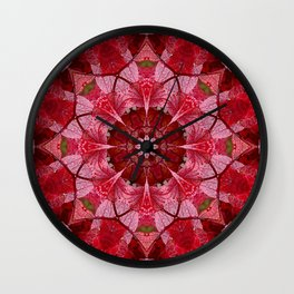 Red autumn leaves kaleidoscope - Cranberrybush Viburnum Wall Clock