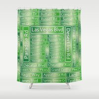 las vegas Shower Curtains featuring Las Vegas Street Signs by Gravityx9