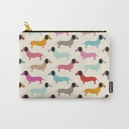 Sweet retro dachshund doxie puppy pattern Carry-All Pouch