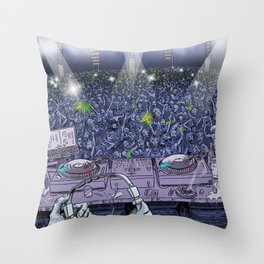 Old Skool DJ Throw Pillow