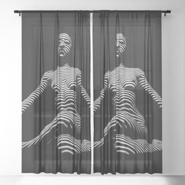 0239-DJA  Nude Woman Yoga Black White Abstract Curves Expressive Lines Slim Fit Girl Zebra Sheer Curtain