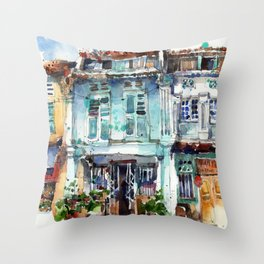 Clive Street, Little India, Singapore Throw Pillow