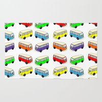 vw bus Area & Throw Rugs featuring VW-Style Love Bus Campervan - Multi Colour by Carrie at Dendryad Art