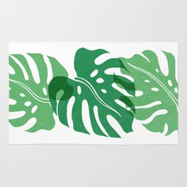 Monstera Print - three broad leaves with texture Rug