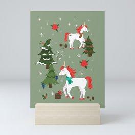 Christmas Winter Unicorn Pattern Mini Art Print