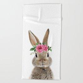 Bunny with Flower Crown Beach Towel