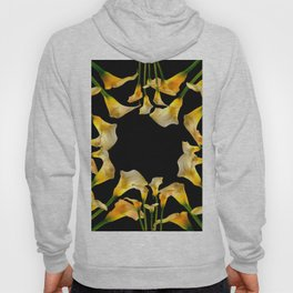 Golden Calla Lilies Black Garden Art Hoody