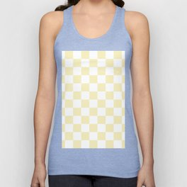 Checkered - White and Blond Yellow Unisex Tank Top
