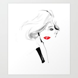 Woman with red lips Art Print