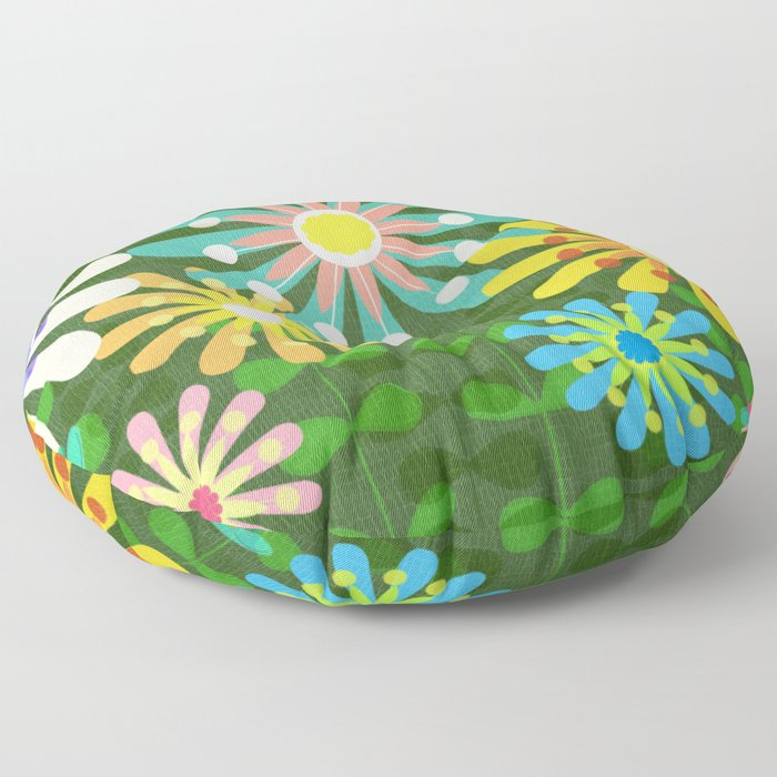 In The Garden Among The Flowers Floor Pillow