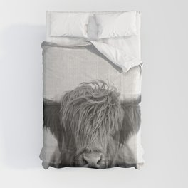 Highland Cow - Black & White Comforters