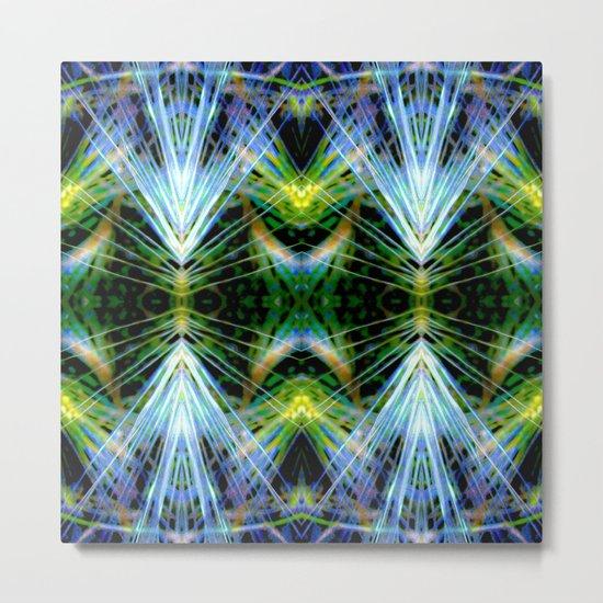 Blue Green Bright Rays,Fractal Art Metal Print