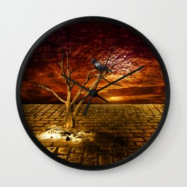 Einsamer Rabe - Lonely raven Wall Clock