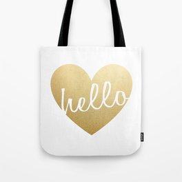 Hello Heart Wall Art #3 Gold Heart Tote Bag
