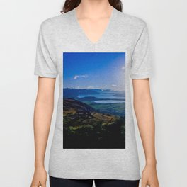 lake wanaka covered in blue colors new zealand beauties and mountains at sunrise Unisex V-Neck