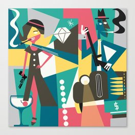 bonny and clyde grey Canvas Print
