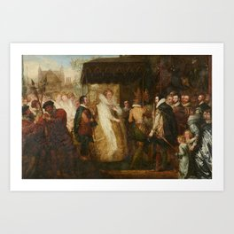 Benjamin West (1738-1820) Queen Elizabeth going in Procession to St. Paul's Cathedral Art Print