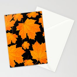 Orange Maple Leaves Black Background #decor #society6 #buyart Stationery Cards