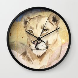 Lioness Watercolor Painting  Wall Clock