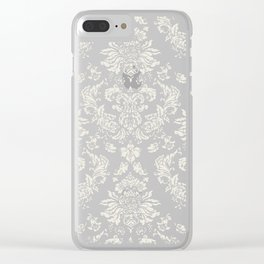 PUG FLORAL DAMASK Clear iPhone Case