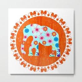 Elephant in orange pastel  background Metal Print