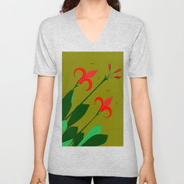 A Group of Big Red Mediterranean Flowers with Buds Unisex V-Neck