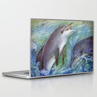 dolphins Laptop & iPad Skins featuring Dolphins by Natalie Berman
