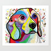 beagle Art Prints featuring BEAGLE by EloiseArt