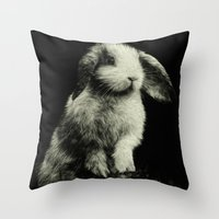 bunny Throw Pillows featuring Bunny by Digital Dreams