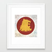 lannister Framed Art Prints featuring Lannister Flag (Game of Thrones) by Goat Robot
