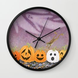 wood frogs, smiling pumpkins, & ghost clouds Wall Clock