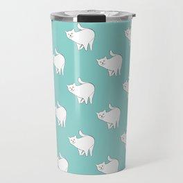 Cute Cat Pattern | Blue Travel Mug