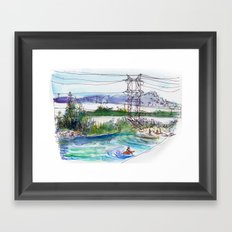 Kayaking in Los Angeles River Framed Art Print