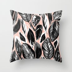 Calathea black & grey leaves with pale background Throw Pillow