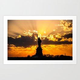 Statue of Liberty sunset in New York Harbor Art Print