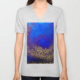 Radial Swirl Pattern Blue Unisex V-Neck