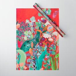 Red floral Jungle Garden Botanical featuring Proteas, Reeds, Eucalyptus, Ferns and Birds of Paradise Wrapping Paper