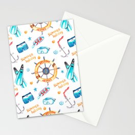 Summer pattern with marine attributes, executed in watercolor and processed for printing. Stationery Cards