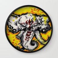 ganesha Wall Clocks featuring Ganesha by RISE Arts
