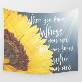 Sunflower with Faith Quote Typography Wall Tapestry