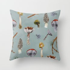 Mushroom Forest Party Throw Pillow