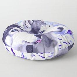 2 Siberian Huskies Floor Pillow