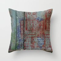 army Throw Pillows featuring Robot army by Ale Ibanez