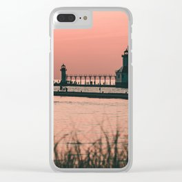 Sunset Lighthouse Clear iPhone Case