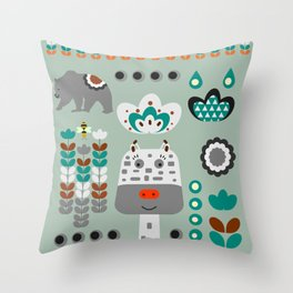 Happy giraffe Throw Pillow