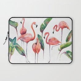 Pink Flamingos with some Strelizia Foliage Laptop Sleeve