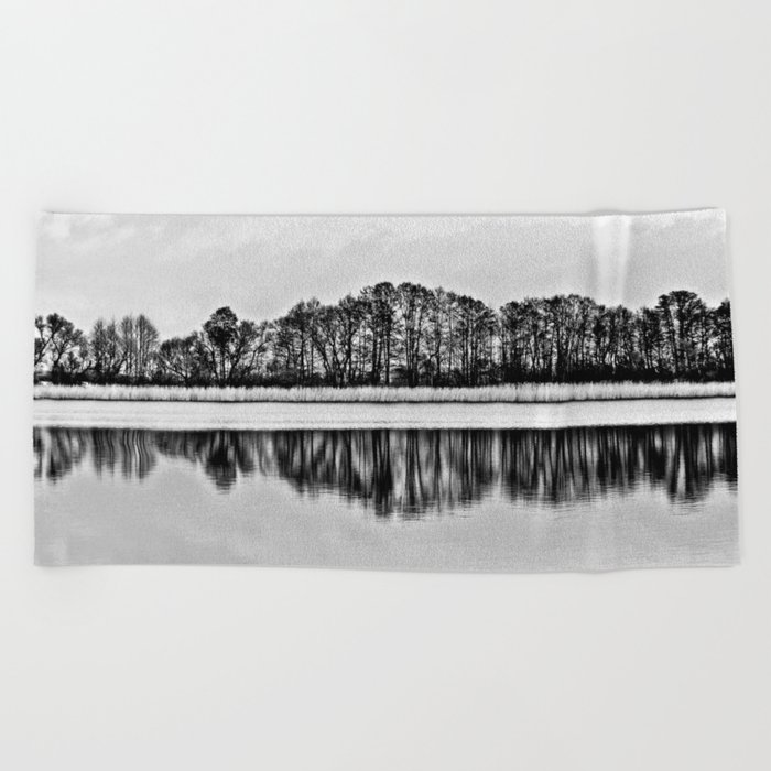 White Symphony of Winter Lake Beach Towel