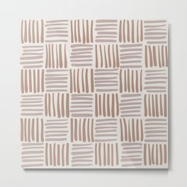 Muted Woven Pattern - Knitted Look Design Metal Print